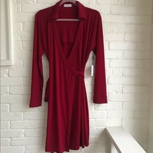 New w/ Tag Calvin Klein Wrap Dress Red Large 10